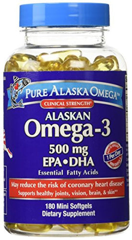 Pure Alaska Omega-3 500mg. - 180 mini Softgels - RokBuy - Health -
