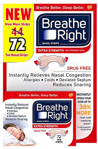 72 Breathe Right Extra Nasal Strips One Size Fits All Tan -  Nose Sleep Strips