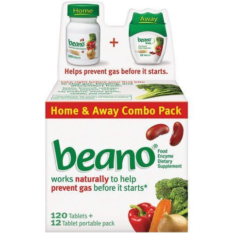 Beano - Food Enzyme Dietary Supplement, Stops Gas Before It Starts, 132 Tablets (120 + 12 portable pack) - RokBuy - Health -