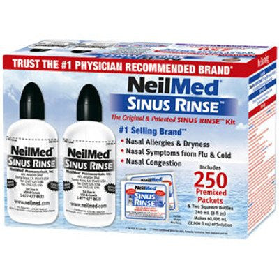 Neilmed Sinus Rinse Nasal Relief Kit Includes 2 Squeeze Bottles (250 Packets) and a Nasal Saline Spray - RokBuy - Health personal care -