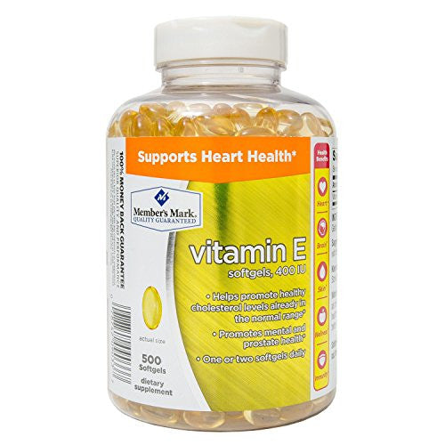 Member's Mark Wellness & Nutrition Vitamin E 400 I.u for Healthy Heart, Cholesterol Levels, Mental and Prostate Health- 500 Softgel Dietary Supplement - RokBuy - Health personal care -