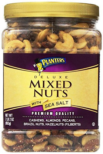 Planters Deluxe Mixed Nuts with Sea Salt Canister, 2 Pound 2oz(963g) - RokBuy - Grocery -