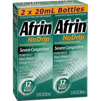 Afrin No Drip 12-Hour Pump Mist, Severe Congestion - 2 pumps each 20 mL - Total 1.33 oz (40mL) - RokBuy - Health -