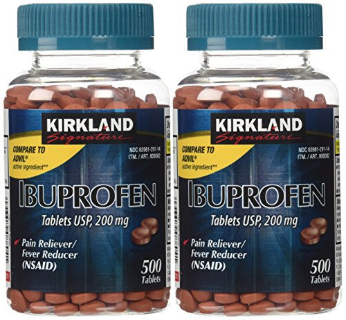 Kirkland Signature USP Ibuprofen, 2 Bottles 200 mg of 500 Tablets Each - RokBuy - Health personal care -