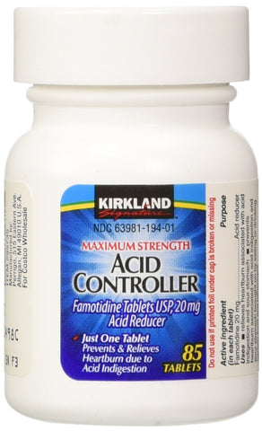 Kirkland Signature Maximum Strength Acid Controller - Various Quantities - RokBuy - Health - Single bottle - 85 tablets - 1