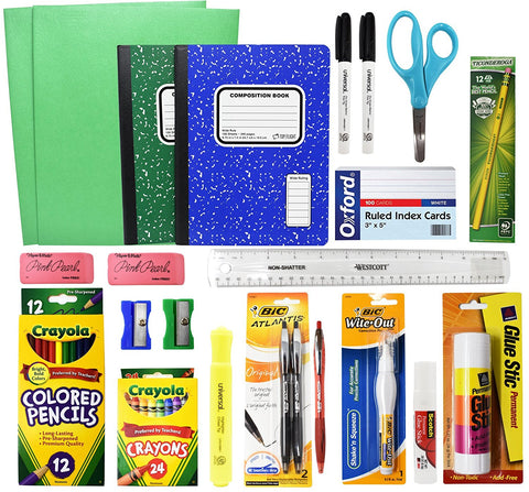 Back To School Basic Classroom Supply Pack (23 Count) School Supply Kit For First, Second,Third, Fourth, Fifth, Sixth, Seventh & Eighth Grades BY RokPack