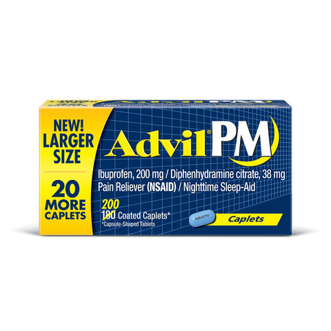 Advil PM 200 Caplets Ibuprofen 200 mg Nighttime Sleep Aid & Pain Reliever - RokBuy - Health -