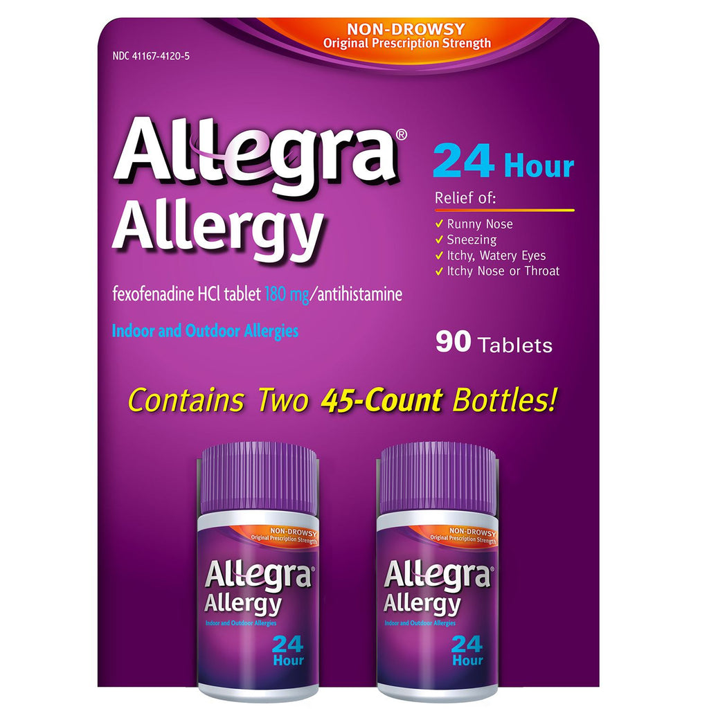 Allegra 24 Hour Non-Drowsy Allergy Relief 180mg Fexofenadine HCl - 90 Tablets - RokBuy - Health -  - 1