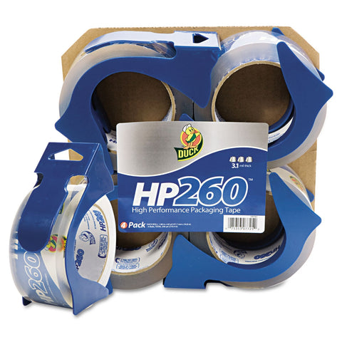 Duck HP 260 Packaging Tape, 4 Rolls with Dispensers - RokBuy - Office -