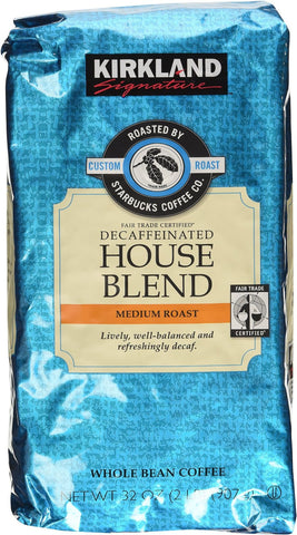 Kirkland Signature Roasted by Starbucks House Blend Decaf Whole Bean Coffee, Various Quantities - RokBuy - Food -