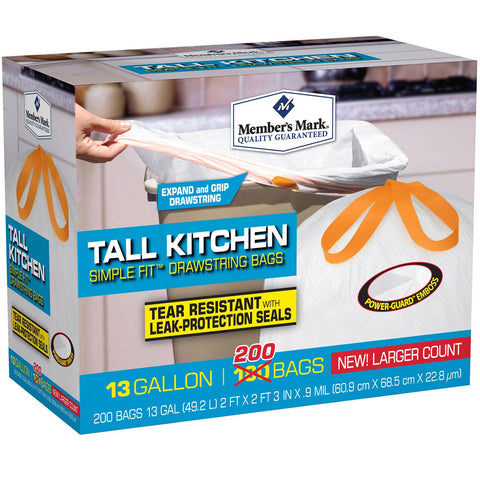 Member's Mark Tall Kitchen Simple Fit Drawstring Bags (13gal., 200ct.) - RokBuy - Office -