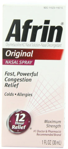 Afrin Original Nasal Spray & Decongestant, Fast/ Powerful Congestion Relief, 1 Fl Ounce Per Spray - RokBuy - Health - 1 Box - 1 Dropper - 1