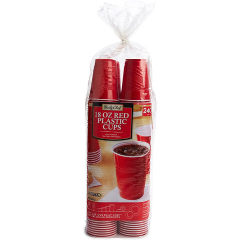 Daily Chef Red Plastic 18 oz. Cups - 240 ct. - RokBuy - Home -