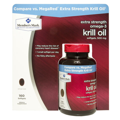 Member's Mark Extra Strength Omega-3 Krill Oil Softgels, 500mg - RokBuy - Health - 1 bottle (160 softgels)