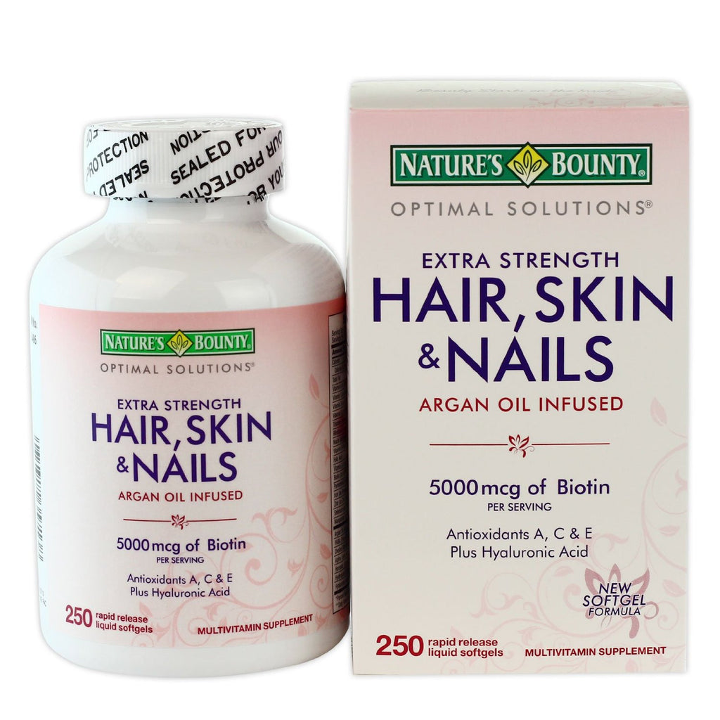 Nature's Bounty Hair Skin and Nails 5000 mcg - 250 liquid softgels - RokBuy - Health -