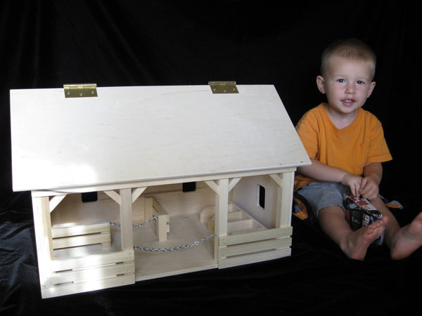 Amish Wooden Toy A-Frame Horse Stable Barn