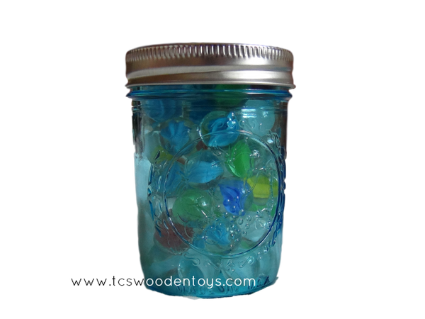 Blue Half Pint BALL Mason Jar Marble Container