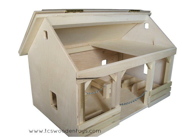 Handmade Amish Wooden Toy A-Frame Horse Barn