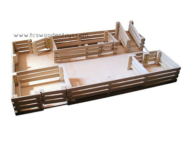 CL15 Wood Amish Toy Stockyard Corral with stalls-ramps-gates