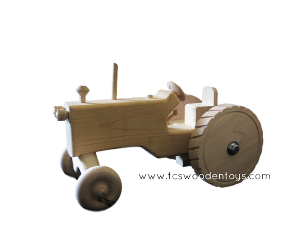 Handmade Amish Wooden Toy Farm Tractor