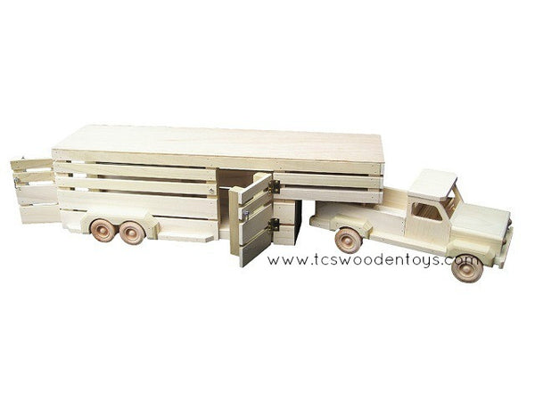 CL20 Amish Wooden Toy Pickup Truck and Gooseneck Trailer