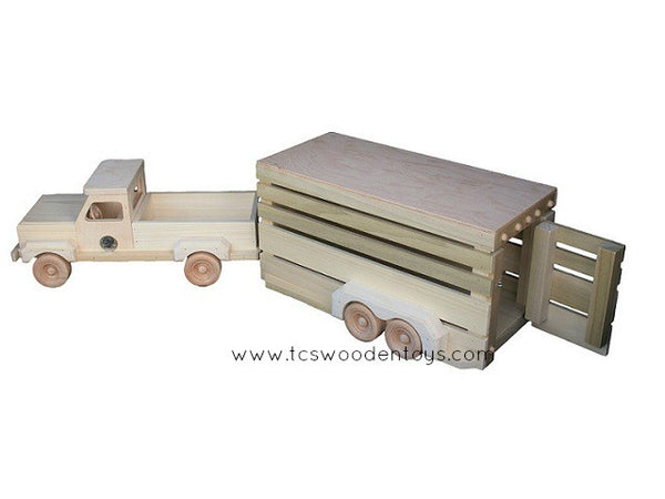 CL21 Amish Wood Toy Pickup Truck and Horse Trailer
