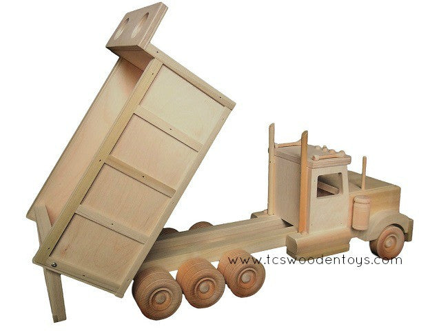 Handmade Wood Construction Dump Truck Toy - with bed up