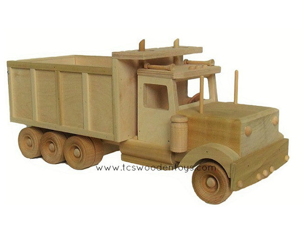 Amish Toy Dump Truck - bed down, right side front showing