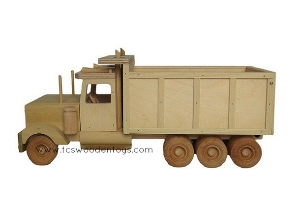 Wooden Dump Truck Vehicle Toy - left side view