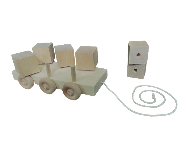 CL35 Wooden Spinning Block Toy - front and side view