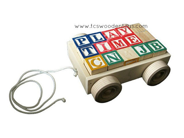Mini Wood Pull Wagon Toy with Alphabet Blocks