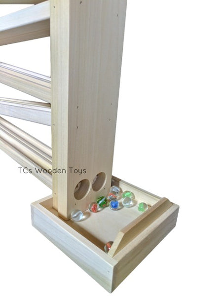 CL52 Wooden Toy Double Marble Roller Run - 2 tracks_marble tray