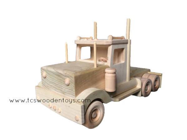 CL70A Wooden Toy Semi Tractor Truck - front view