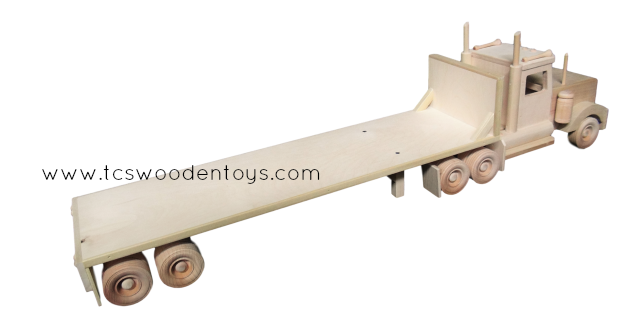 Semi Truck That S Also A Toy Car Holder : Wooden toy flatbed trailer and semi truck combo tcs