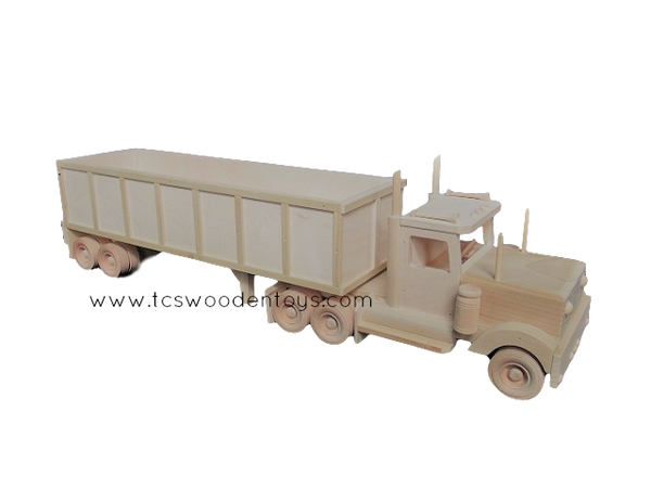 CL72 Amish Wooden Toy Grain Trailer and Semi Truck - right long view