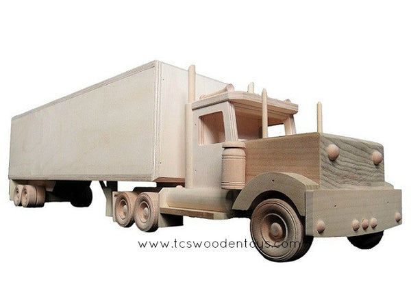 CL73A Handmade Semi Tractor Truck and Box Trailer Toy SET