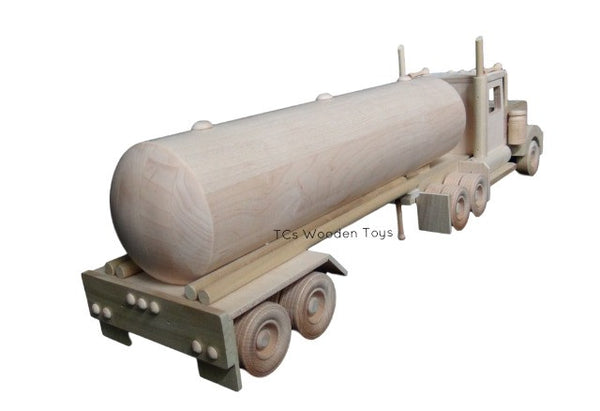 CL74 Amish Wood Toy Semi Truck Transporter and Tanker Trailer - RR view