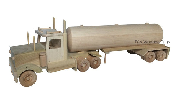 CL74 Amish Wood Toy Semi Truck Transporter and Tanker Trailer - RF view