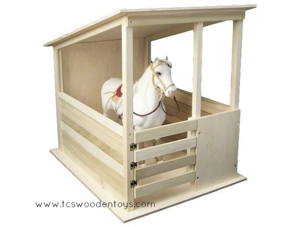 "Wooden Handmade Toy Horse Stable for 19-20"" tall Horses"