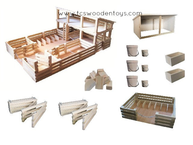 Wooden Toy Horse Farm with Accessories GIFT SET