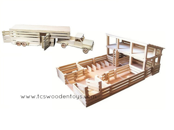 GS13 Wooden Toy Stockyard and Horse Trailer GIFT SET