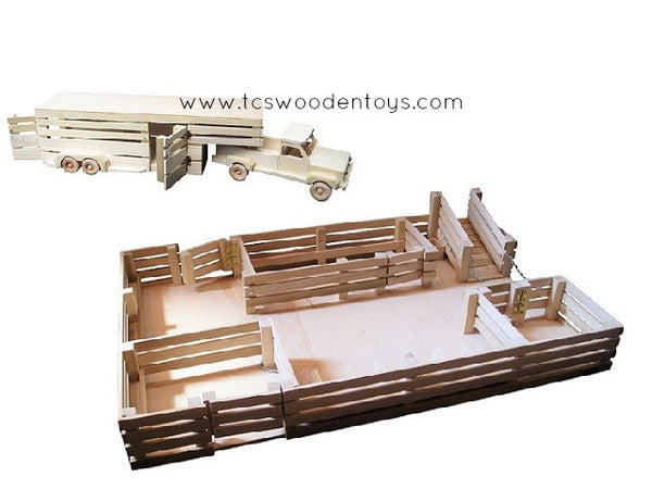 GS15 Wooden Toy Stockyard WITHOUT Loft and Pickup Truck and Gooseneck Trailer