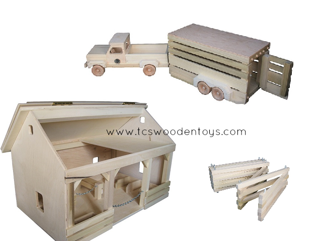 Wooden Toy Horse Barn with Truck and Trailer GIFT SET – TCs Wooden Toys