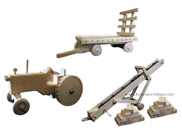 Amish Wooden Toy Tractor, Hay Wagon, Grain/Hay Elevator and Hay GIFT SET