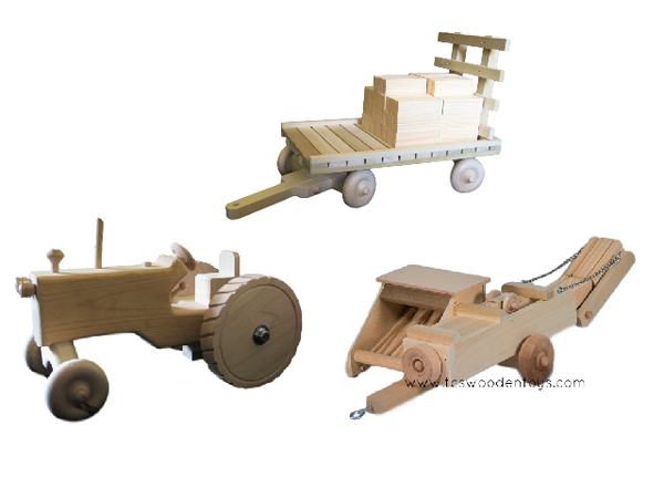 Amish Wooden Toy Farm Hay Baler GIFT SET