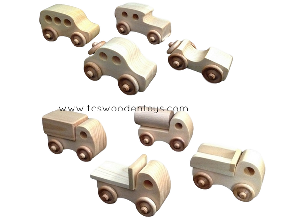 Chunky Wooden Mini Toy Car and Mini Toy Truck GIFT SET