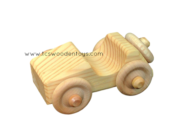 OWT30A Chunky Handmade Wooden Toy Mini Car - Sports Car_LF view