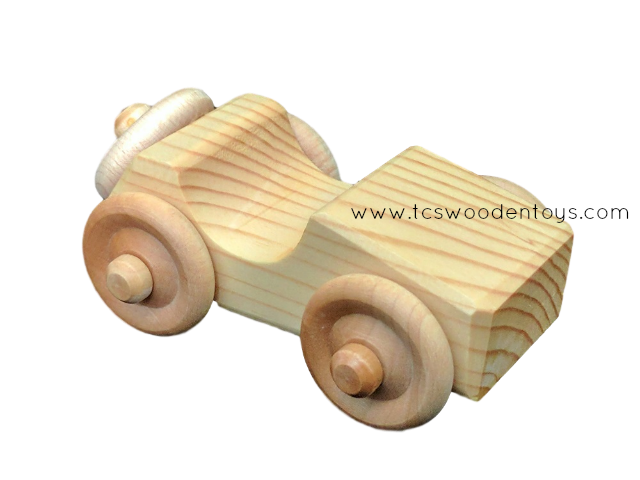 OWT30A Chunky Handmade Wooden Toy Mini Car - Sports Car_RF view