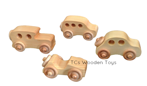 OWT30SET Wooden Toy Mini Cars - set of 4