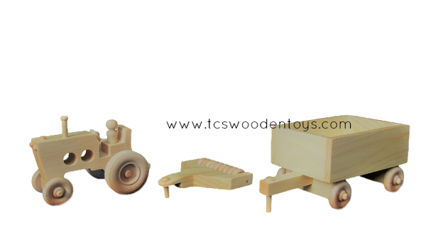 Wooden Toy Farm Tractor, Disc Tiller and Wagon GIFT SET
